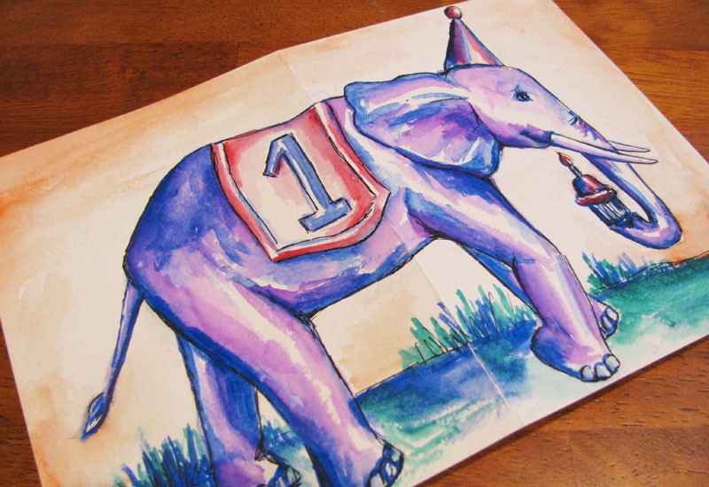 Elephant illustration birthday card