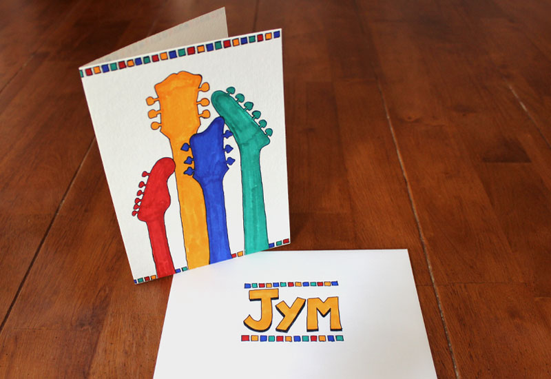 Guitar silhouette drawing birthday card