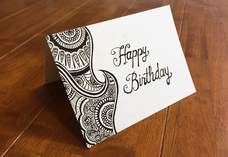 Henna mehndi handdrawn birthday card