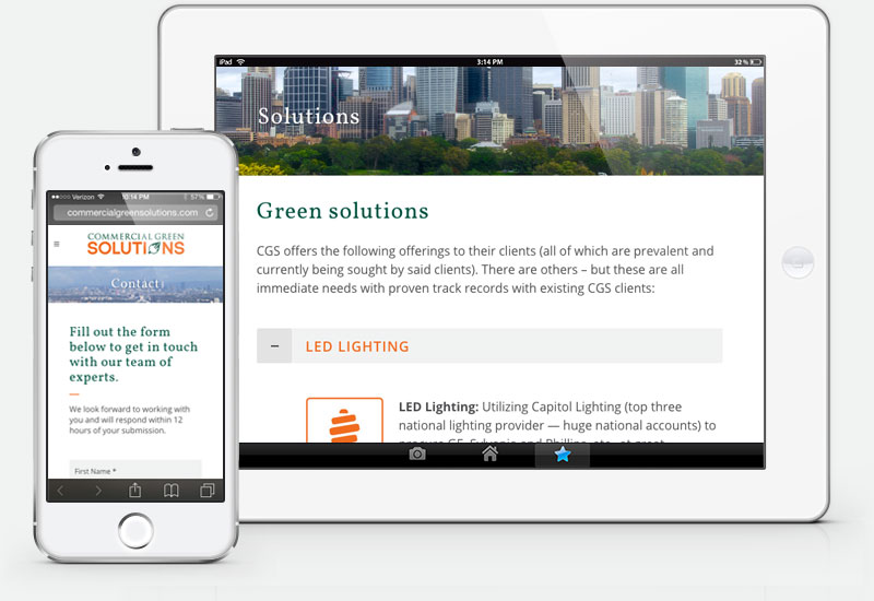 Commercial Green Solutions mobile website