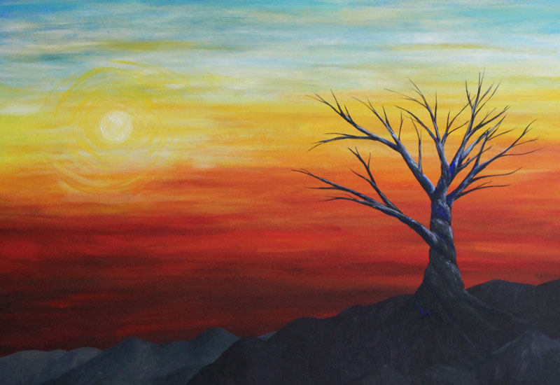 Surrealist tree painting