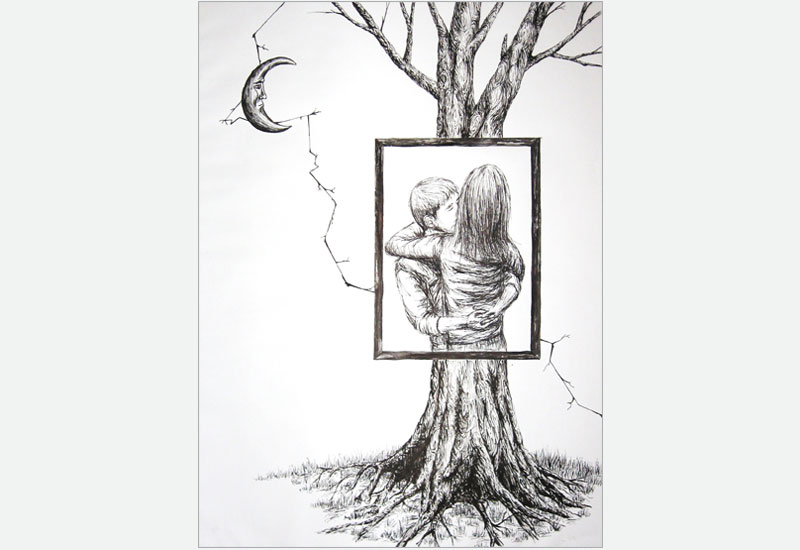 Tree huggers drawing
